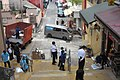 HK SW 上環 Sheung Wan 太平山街 9號 Tai Ping Shan Street 明發樓 Ming Fat House 太歲廟 Tai Sui Temple reservation of stairs 磅巷 Pound Lane December 2017 IX1 LCSD cleaning workers n policemen 04.jpg
