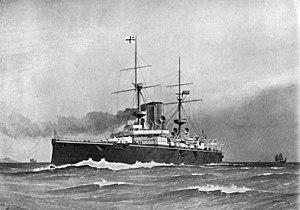 HMS Centurion (1892) - HMS Centurion, by W. Fred Mitchell, 1904