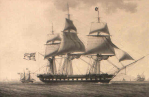 HMS Révolutionnaire (1794) - Portrait of Révolutionnaire in 1820, by Antoine Roux.