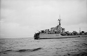 Corfu Channel case - Image: HMS Volage mined 1946 IWM A 31208