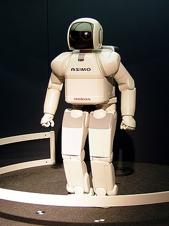 Robot - ASIMO (2000) at the Expo 2005, a bipedal humanoid robot.