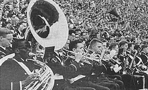 "University of Pittsburgh Varsity Marching Band - The brass section of the Pitt Band blares out ""Hail to Pitt"" during a 14-7  Pitt football win over Syracuse University at Pitt Stadium in 1956."
