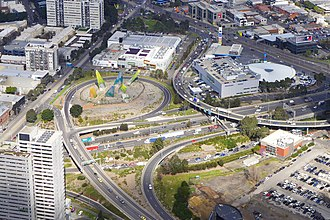CityLink - Interchange consisting of the Burnley Tunnel entrance, Domain Tunnel entrance, West Gate freeway and Power Street/Kings Way ramps.