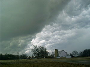 Hail clouds often exhibit a characteristic gre...