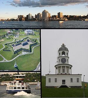 Top: Halifax Skyline, Middle left: Citadel Hill, Bottom left: Metro Transit Ferry, Right: Halifax Town Clock