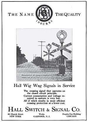 Hall Signal Company - A 1916 advertisement for a Hall wigwag grade crossing signal
