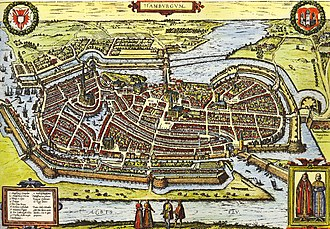 History of Hamburg - Hamburg by Georg Braun and Franz Hogenberg (between 1572 and 1618)