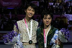 Hanyu and Uno t the 2015 Grand Prix Final.jpg