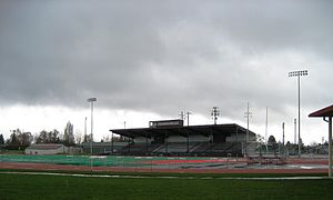 Hare Field - Main grandstand from west with football field in foreground