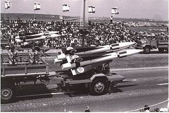 Israel Defense Forces parade - MIM-23 Hawk anti-aircraft missiles in a military parade in Tel Aviv, 1965