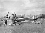 Hawker Hurricane Mk I of No. 601 Squadron RAF being serviced at dispersal at Exeter, November 1940. CH1638.jpg