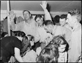 """Healing """"laying on of hands"""" ceremony in the Pentecostal Church of God. Lejunior, Harlan County, Kentucky. - NARA - 541338.tif"""