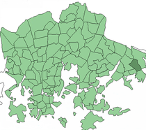 Position of Nordsjön kartano within Helsinki