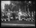 Herbert Hoover with marching band outside White House, Washington, D.C. LCCN2016889706.tif