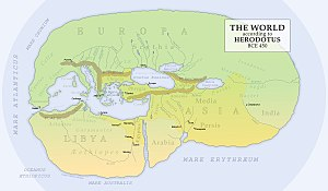 Armenia - A reconstruction of Herodotus' world map c. 450 BC, with Armenia shown in the centre