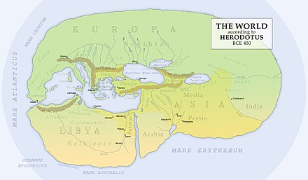 Reconstruction of Herodotus' world map (450 BC) Herodotus World Map.jpg