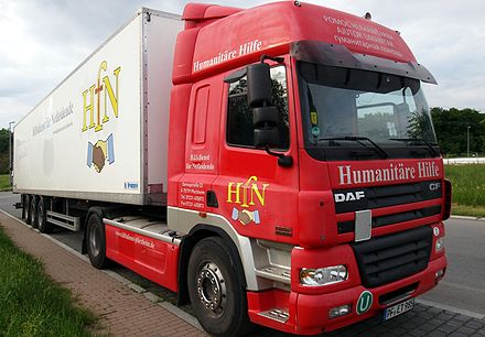 Truck for delivery of aid from Western to Eastern Europe