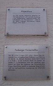 Hinweistafel zum Fürstentreffen von 1549 in Freiberg (Quelle: Wikimedia)