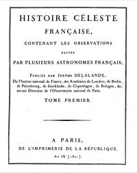 Histoire Céleste Française cover