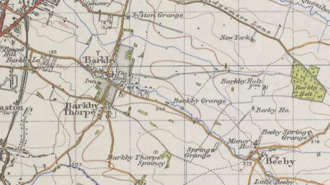 Barkby - 20th century map showing Barkby, Leicestershire