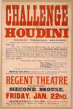 "Poster promoting Houdini taking up the challenge of escaping an ""extra strong and large traveling basket""."