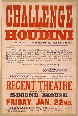 "Harry Houdini - Poster promoting Houdini taking up the challenge of escaping an ""extra strong and large traveling basket"""