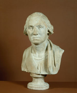Plaster cast - Plaster cast bust of George Washington by Jean-Antoine Houdon based on a life mask cast in 1786.