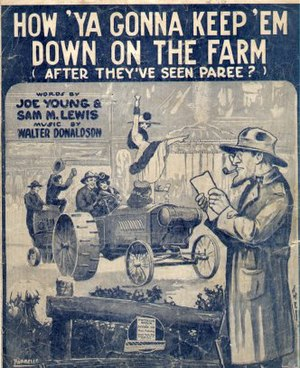 History of the United States (1918–45) - A 1919 sheet music cover, noting that many young veterans had served in France and were leaving rural America for the cities