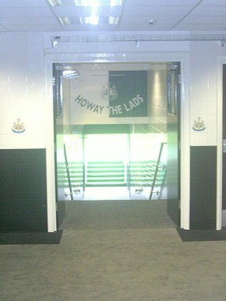 St James' Park - Entrance to the pitch from beneath the Milburn Stand, named in honour of Jackie Milburn