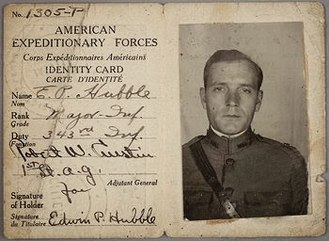 Edwin Hubble - Hubble's identity card in the American Expeditionary Forces.