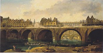 The demolition of houses on the Notre Dame Bridge