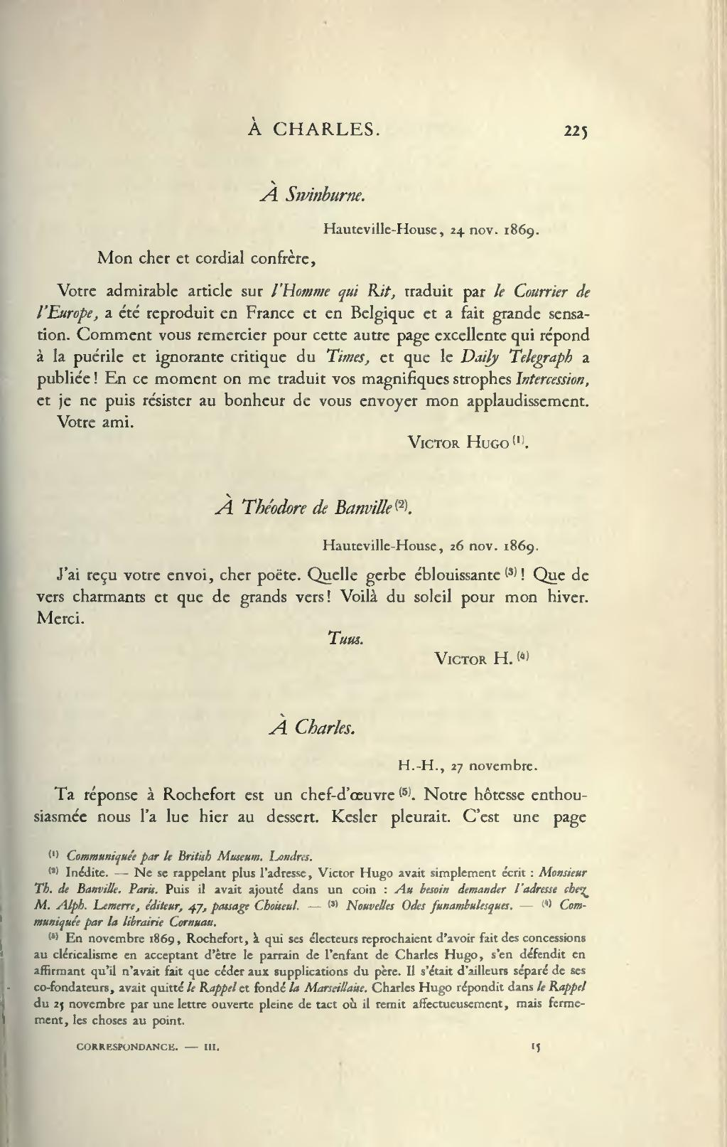 Page Hugo œuvres Completes Impr Nat Correspondance Tome Iii