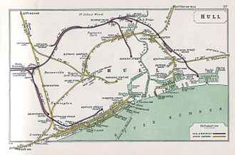 Humber - Historical railway map of Hull showing the ferry route and the layout of docks