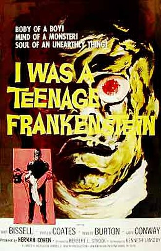 B movies in the 1950s - When one of AIP's movies hit, the company was able to take advantage quickly. I Was a Teenage Werewolf premiered June 19, 1957. I Was a Teenage Frankenstein, also produced and cowritten by Herman Cohen, opened just five months later.