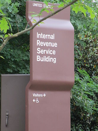 Internal Revenue Service - IRS location sign on Constitution Avenue, Washington, D.C.