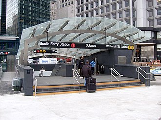 South Ferry/Whitehall Street (New York City Subway) - The main entrance to the new South Ferry portion of the station in March 2009, before the construction of Peter Minuit Plaza
