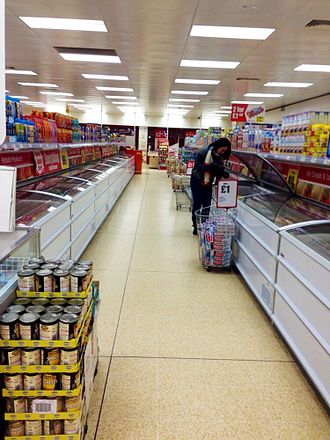 Iceland (supermarket) - The interior of an Iceland supermarket in Horwich, Bolton, Greater Manchester