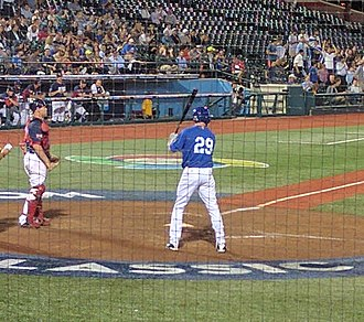 Israel at the World Baseball Classic - Ike Davis preparing to bat for Israel.