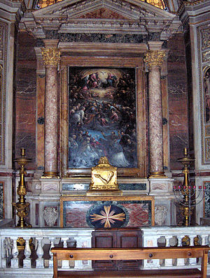 Andrew Bobola - The altar with the relics of the arm of Andrew Bobola in the church of Il Gesù in Rome.