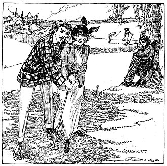 Caddie - Imaginative drawing by journalist Marguerite Martyn of a couple at the Forest Park Golf Course, St. Louis, Missouri, in 1914, while a caddie leans against a tree