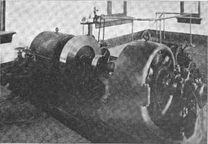 Single-phase generator - In-conduit hydro turbine with single-phase generator at St. Louis Municipal Electric Power Plant in 1902