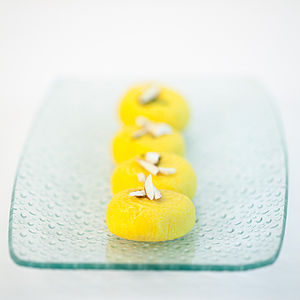 Indian Sweet Dessert Peda in a glass plate.jpg