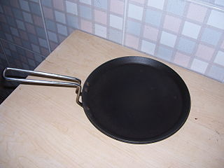 Tava large flat, concave or convex disc-shaped frying pan, skillet, or griddle, made from metal (often sheet iron, cast iron, sheet steel or aluminium), used in South, Central, and West Asia and the Caucasus, for cooking flatbreads and as a frying pan