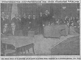Maurism - Conference by Gabriel Maura organised by the Maurist Youth in the Westin Palace Hotel (March 1917).
