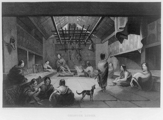 Grant believed Pacific Northwest Indians were a peaceful people and not a threat to settlers. Chinook Indian plankhouse, published 1845. Interior of a Chinookan plankhouse.jpg