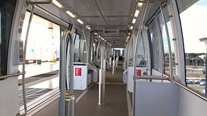 Interior of cable car used on BART Oakland Airport line.jpg