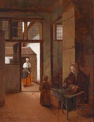 Interior with a woman and a child; outside a maid is sweeping the yard
