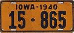 Iowa 1940 license plate - Number 15-865.jpg