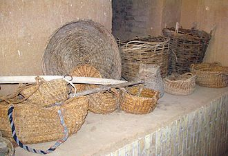 Basket - Palm baskets (front) and wicker baskets (back)