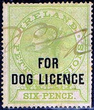 Revenue stamps of Ireland - Ireland's first dog licence stamp, that was issued in 1893.